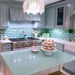 Extraordinary-Blue-Glass-Kitchen-Countertop-with-Blue-Brick-Backsplash-Ideas-Feat-Pretty-Blue-Wooden-Cabinets-Color