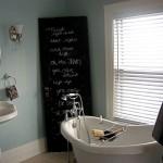 bathroom-awesome-clawfoot-tub-bathroom-ideas-with-chalkboard-paint-and-sign-using-former-black-door-sponge-caddy-soap-dish-on-bathtub-minimalist-sink-round-shape-mirror-and-big-win