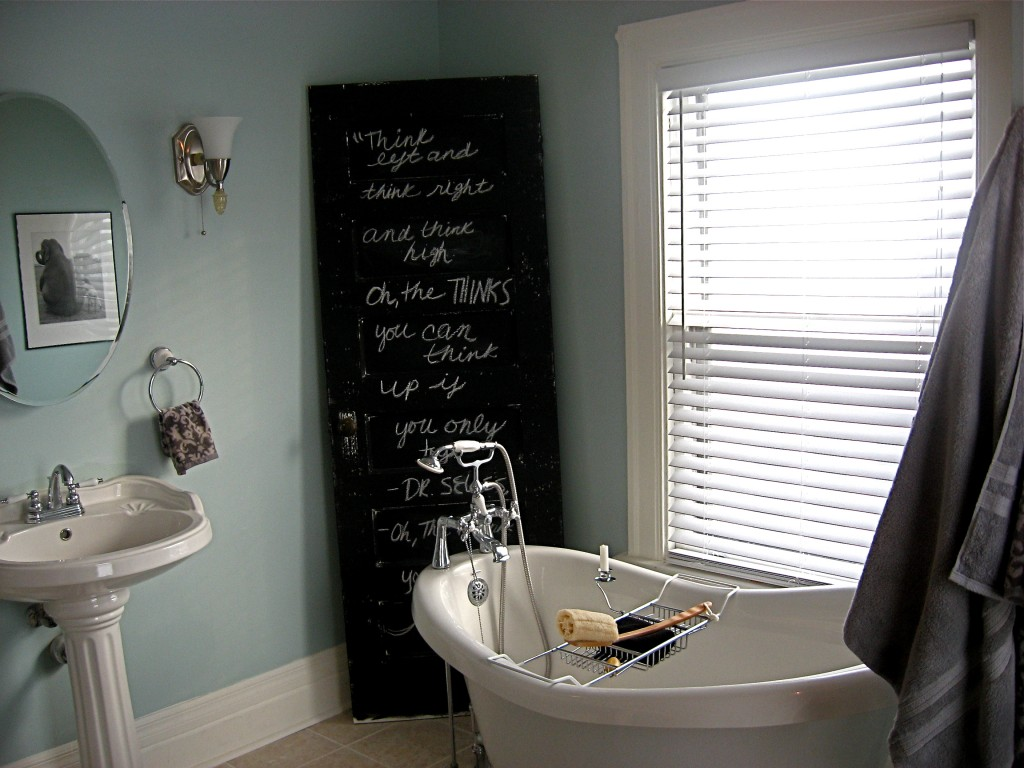 Picture of: Bathroom Awesome Clawfoot Tub Bathroom Ideas With Chalkboard Paint And Sign Using Former Black Door Sponge Caddy Soap Dish On Bathtub Minimalist Sink Round Shape Mirror And Big Win Golden Art