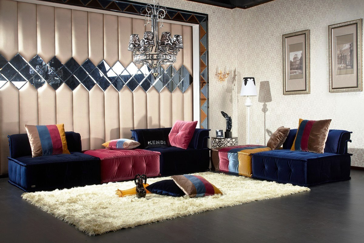 Endearing Design Contemporary Living Room Furniture Ideas Dark Blue Pink Colors Velvet Sofa With Chaise Striped Pattern Cushions Rectangle Shape Plush Rug Gray Floor Tiles Unique Mirrors Wall Decor M Golden Art