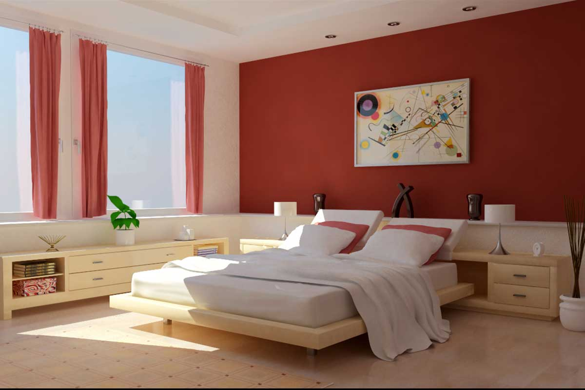 Warm Bedroom Interior Designs And Decoration For Simple Modern Master Bedroom With Simple Low Platform Bed With Adjustable Headboard Design Simple Low Profile Bed Cabinet Along Simple Windowshill Deco Golden Art