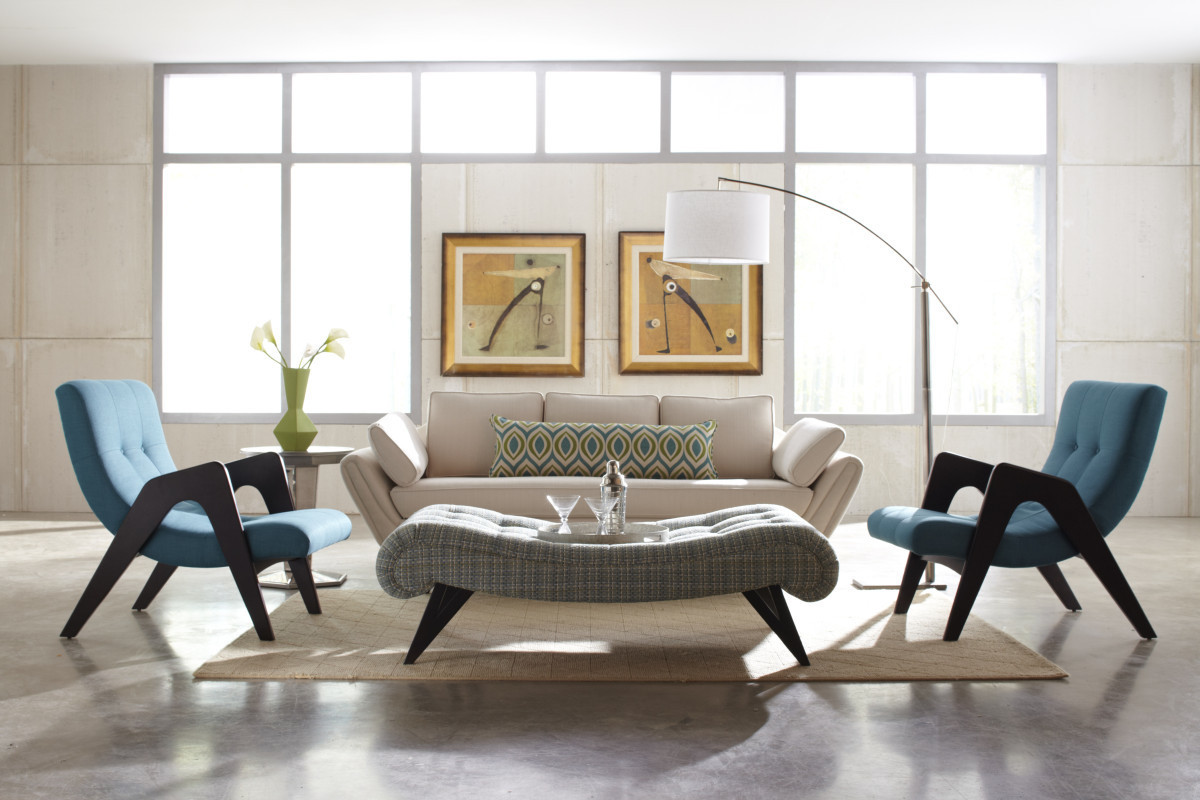Tufted Ottoman Coffee Table With West Elm Sofas And Mid Century